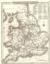ENGLAND & WALES: County map. Polling places. Coach roads. DUGDALE,1845